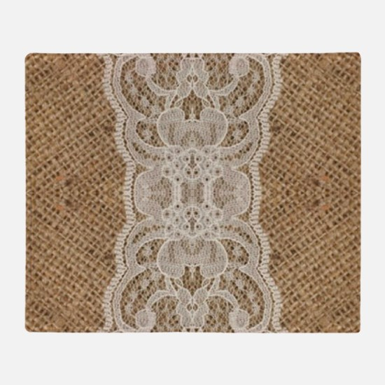 shabby chic burlap lace Throw Blanket