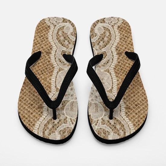 shabby chic burlap lace Flip Flops