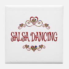 Salsa Dancing Hearts Tile Coaster