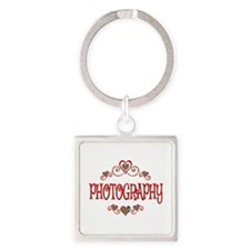 Photography Hearts Square Keychain