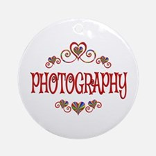 Photography Hearts Round Ornament