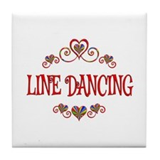 Line Dancing Hearts Tile Coaster