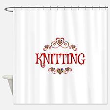 Knitting Hearts Shower Curtain