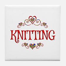 Knitting Hearts Tile Coaster