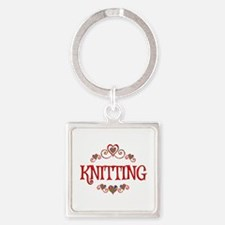Knitting Hearts Square Keychain
