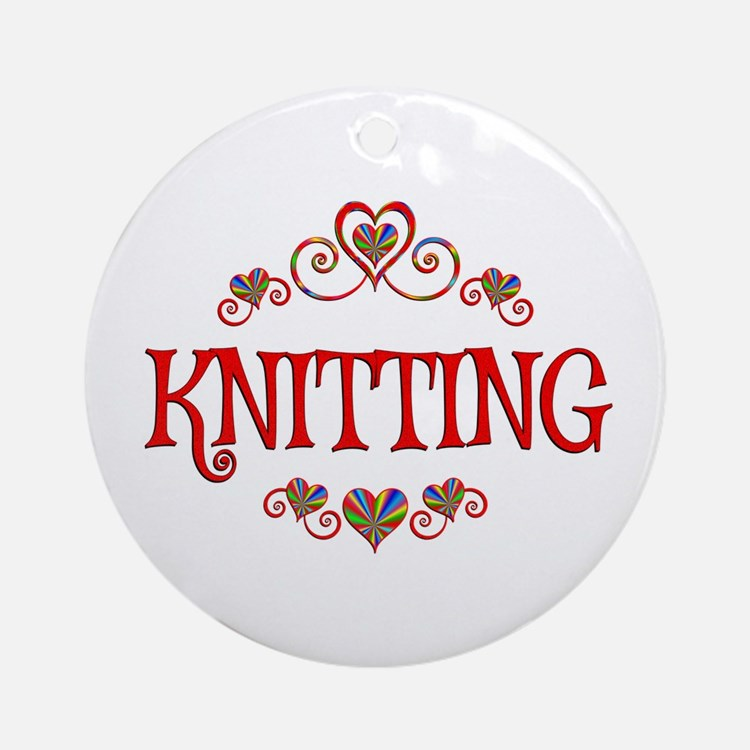 Knitting Hearts Round Ornament