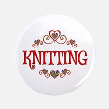 Knitting Hearts Button
