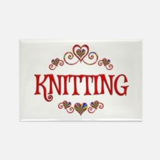 Knitting Hearts Rectangle Magnet