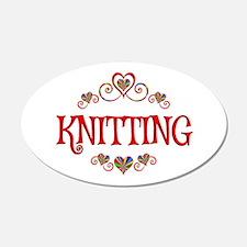 Knitting Hearts Wall Decal