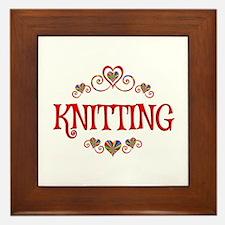 Knitting Hearts Framed Tile