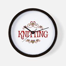 Knitting Hearts Wall Clock
