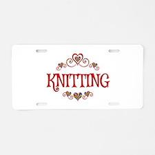 Knitting Hearts Aluminum License Plate