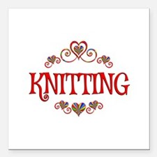 """Knitting Hearts Square Car Magnet 3"""" x 3"""""""