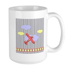Little Red Airplane Stripes Mug