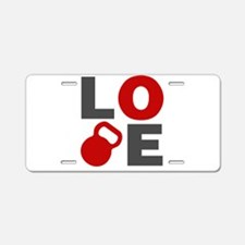 Love Kettlebell Aluminum License Plate