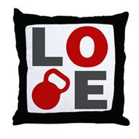 Love Kettlebell Throw Pillow