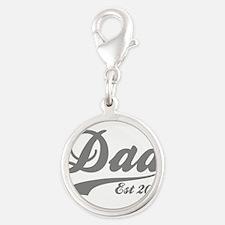 Dad Est 2015 Silver Round Charm