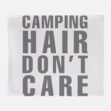 Camping Hair Don't Care Throw Blanket