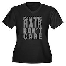 Camping Hair Women's Plus Size V-Neck Dark T-Shirt