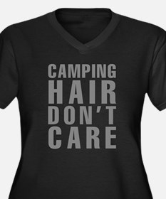 Camping Hair Women's Plus Size V-Neck Dark T-Shirt