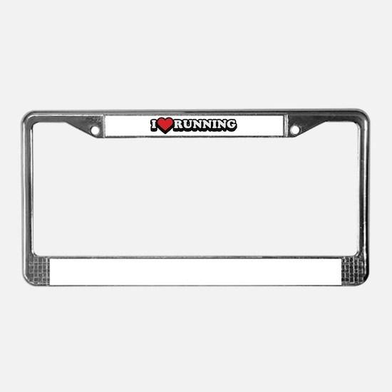 I Love Running License Plate Frame