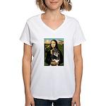 MonaLisa-Aussie Shep (Tri-L) Women's V-Neck T-Shir