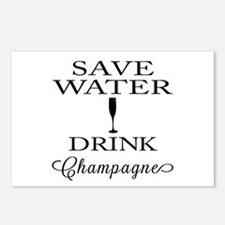 Save Water Drink Champagne Postcards (Package of 8