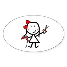 Girl & Hair Dryer Oval Decal
