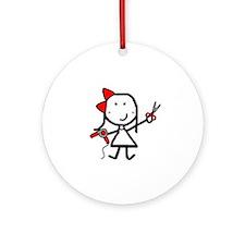 Girl & Hair Dryer Ornament (Round)