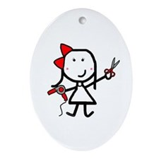 Girl & Hair Dryer Oval Ornament