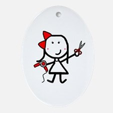 Girl & Hair Dryer Oval Ornament