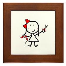 Girl & Hair Dryer Framed Tile