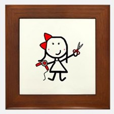 Girl & Hair Dryer Framed Tile
