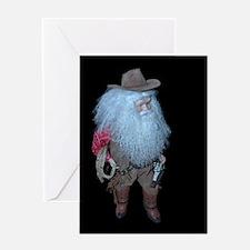 3-Cowboy Santa Z Greeting Cards