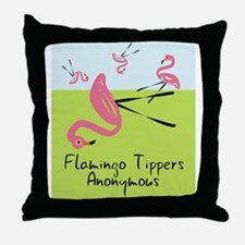 Flamingo Tippers Anonymous Throw Pillow