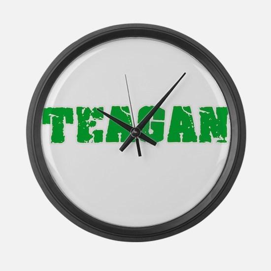 Teagan Name Weathered Green Desig Large Wall Clock
