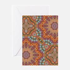 turquoise orange bohemian moroccan Greeting Cards