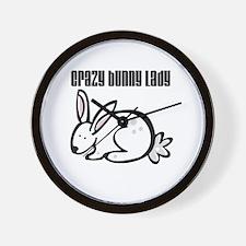 Crazy Bunny Lady Wall Clock