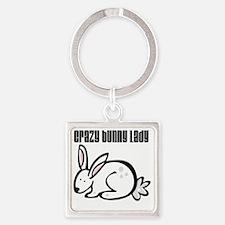 Crazy Bunny Lady Square Keychain