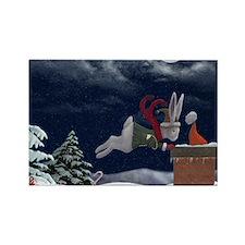 White Rabbit Christmas Rectangle Magnet