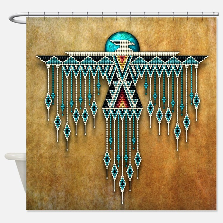 southwest native style thunderbird shower curtain - Native American Decor