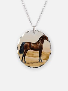 Vintage Arabian Horse Painti Necklace