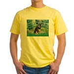 Bridge-Aussie Shep - Tri (L) Yellow T-Shirt