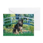 Bridge-Aussie Shep - Tri (L) Greeting Card