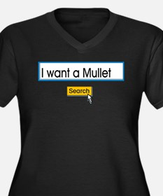 Mullet Women's Plus Size V-Neck Dark T-Shirt
