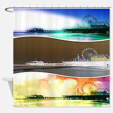 Santa Monica Pier Tricolor Shower Curtain