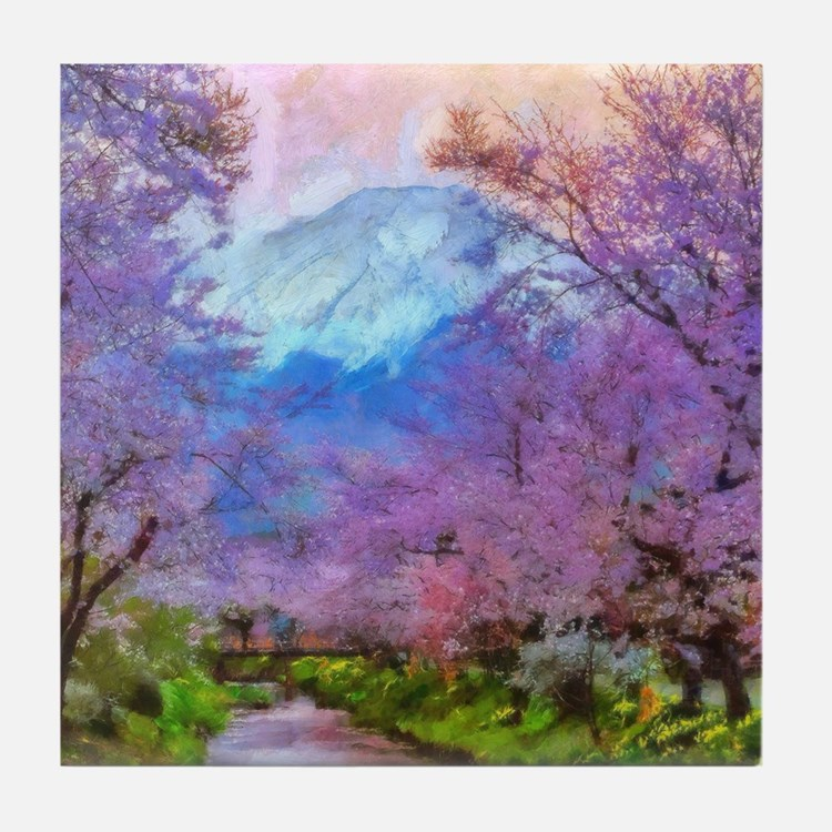 Cherry Blossom Mountain Tile Coaster