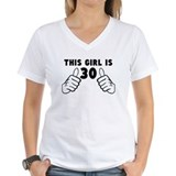 30th birthday girl Womens V-Neck T-shirts