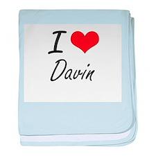 I Love Davin baby blanket