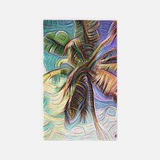 Abstract Rainbow Palm Tree Area Rug